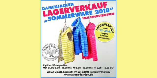 Damenjacken von Happy Goose gibt es bei WEGA in Thansau in tollen, modernen, angesagten Frühlingsfarben im Lagerverkauf. Tolle Preise für aktuelle Sommerjacken bei WEGA. Jetzt Öffnungszeiten entdecken.