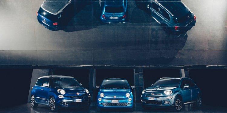 Die Fiatfamilie auf dem internationalen Autosalon in Genf mit vielen Modellen unter anderem der gesamten Fiat 500 Familie, der Weltpremiere des Fiat Spider S-Design und Mirror.