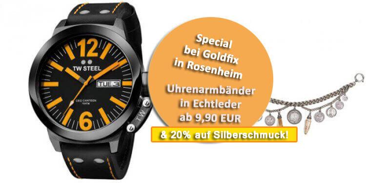 Bei Goldfix in Rosenheim purzeln die Preise pünktlich zum Frühlingsbeginn. Sichern Sie sich vor Ort 20% Rabatt auf Silberschmuck. Daneben gibt es Uhrenarmbänder in Leder für Sie und Ihn für 9,90 EUR. Goldfix Rosenheim gegenüber der Fischküche,