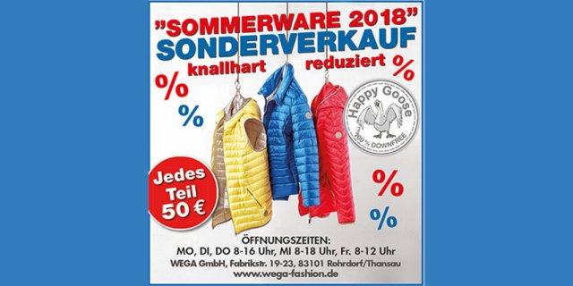 Bei WEGA können Sie aktuell Bares sparen! Denn jetzt gibt es die Sommerware im Sonderverkauf knallhart reduziert. Jedes Teil für 50 EUR. Erfahren Sie hier mehr.