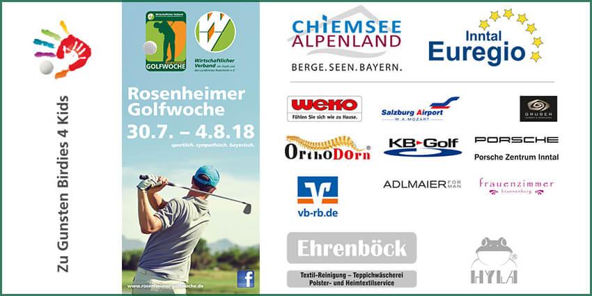 Die Golfwoche Rosenheim feiert zehn Jahre Bestehen. Die Golfwoche 2018 findet vom 30. Juli bis 4. August 2018 sechs Tage auf sechs verschiedenen Golfplätzen statt.